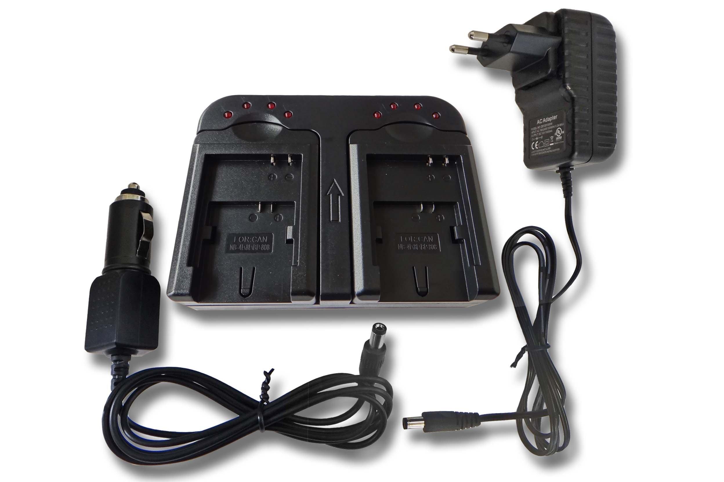 Caricabatterie doppio con adattatore auto per batterie Canon NB-4L, NB-8L, BP-807, BP-808, BP-819,