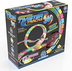 Mindscope Twister Tracks Trax 360 Loop 15' (feet) of Neon Glow in the Dark Track with Two Light-Up (Pulse LED) Vehicles Sports Car Series