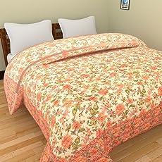Cloud Mart Pure Cotton Jaipuri razai/rajai Traditional sanganeri Print Double Bed Quilt Blanket - 90 inch x 103 inch, Multi-Color,