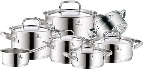 WMF Gourmet Plus Topfset, 7-teilig, mit Metalldeckel, Kochtopf, Stielkasserolle, Dämpdereinsatz, Cromargan Edelstahl mattiert, Innenskalierung, Dampföffnung, induktionsgeeignet, spülmaschinengeeignet