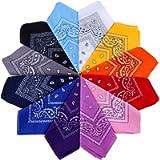 Anpro 12 Pezzi Bandane Multicolori per Cappelli,Bandana per Capelli, Collo,Testa,Sciarpa Fazzoletti da Taschino,Disegno…
