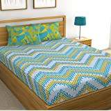 Huesland by Ahmedabad Cotton 144 TC Cotton Double Bedsheet with 2 Pillow Covers - Blue, Green