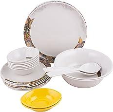 Golden Fish Unbreakable Plastic & Microwave Safe Dinner Set (24 Pcs.) (GF-14-Multi)