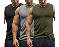 COOFANDY Mens Gym T Shirts Sleeveless 3 Pack Gym Tank Top Muscle Bodybuilding Sports Vest Tops
