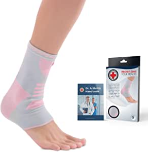 Doctor Developed Ankle Brace / Compression Sleeve / Ankle Support - & Doctor Written Handbook - Protector / Guard with Silicon Gel Pad for Foot Support [Single] (Pink/Grey, S)