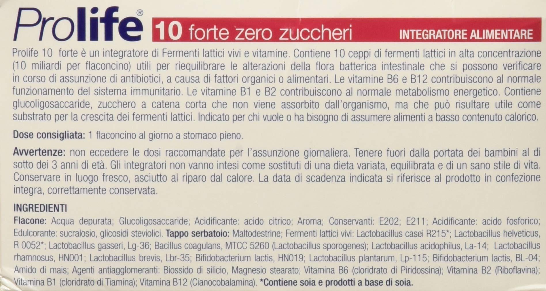Prolife 10 Forte Integratore con Probiotici Senza Zucchero - 10 flaconcini da 8 ml 4 spesavip