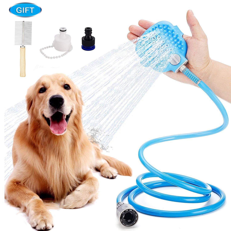 UIQELYS Dog Shower Sprayer, Pet Brush Shower Hand-held Bathing Tool Indoor/Outdoor Bath Massage Gloves Remover Hair…