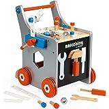 Janod - Brico'Kids Chariot de Bricolage Enfant en Bois - Magnétique - Imitation et Eveil - 25 Outils et Accessoires Inclus -