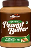 Alpino Natural Peanut Butter Crunch 1 KG | Unsweetened | Made with 100% Roasted Peanuts | No Added Sugar | No Added Salt…