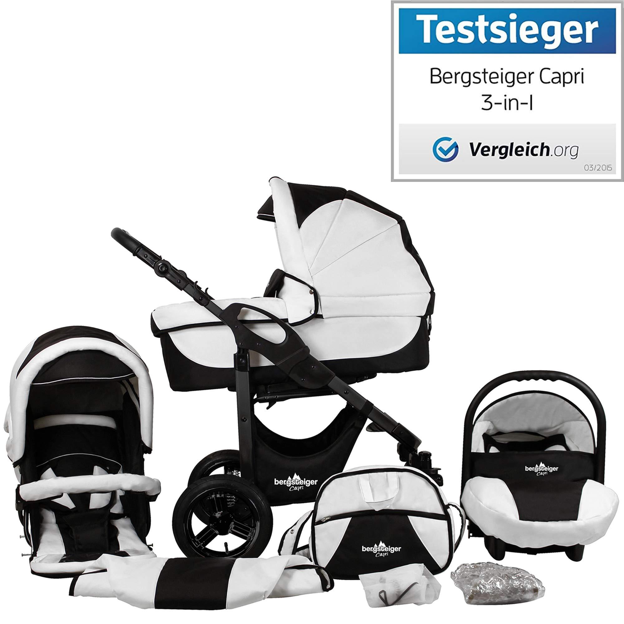 Bergsteiger Capri Black & White Kinderwagen 3 in 1 Kombikinderwagen Megaset 10 teilig inkl. Babyschale, Babywanne, Sportwagen und Zubehör