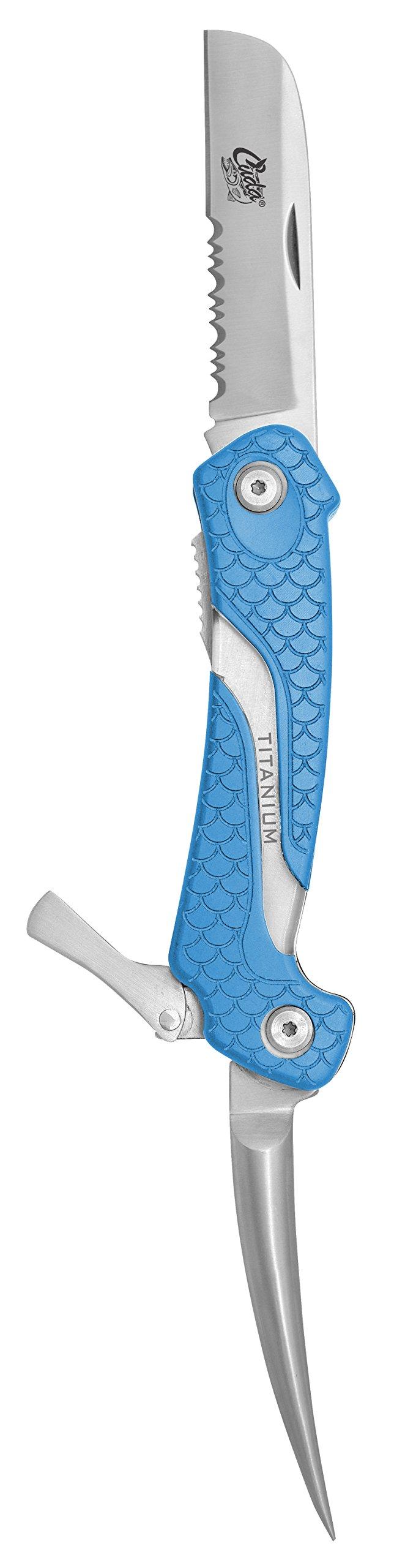 Cuda Titanium Bonded Marlin Spike Folding Knife, Blue