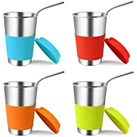 KEREDA 4 Pack Stainless Steel Mugs with Silicone Lids Straws, 17oz Drinking Cups Tumblers Bundle BPA Free for Cold Hot…