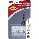 Command 17067CLR - Pack de 3 ganchos para utensilios pequeños con tiras (plástico) transparente