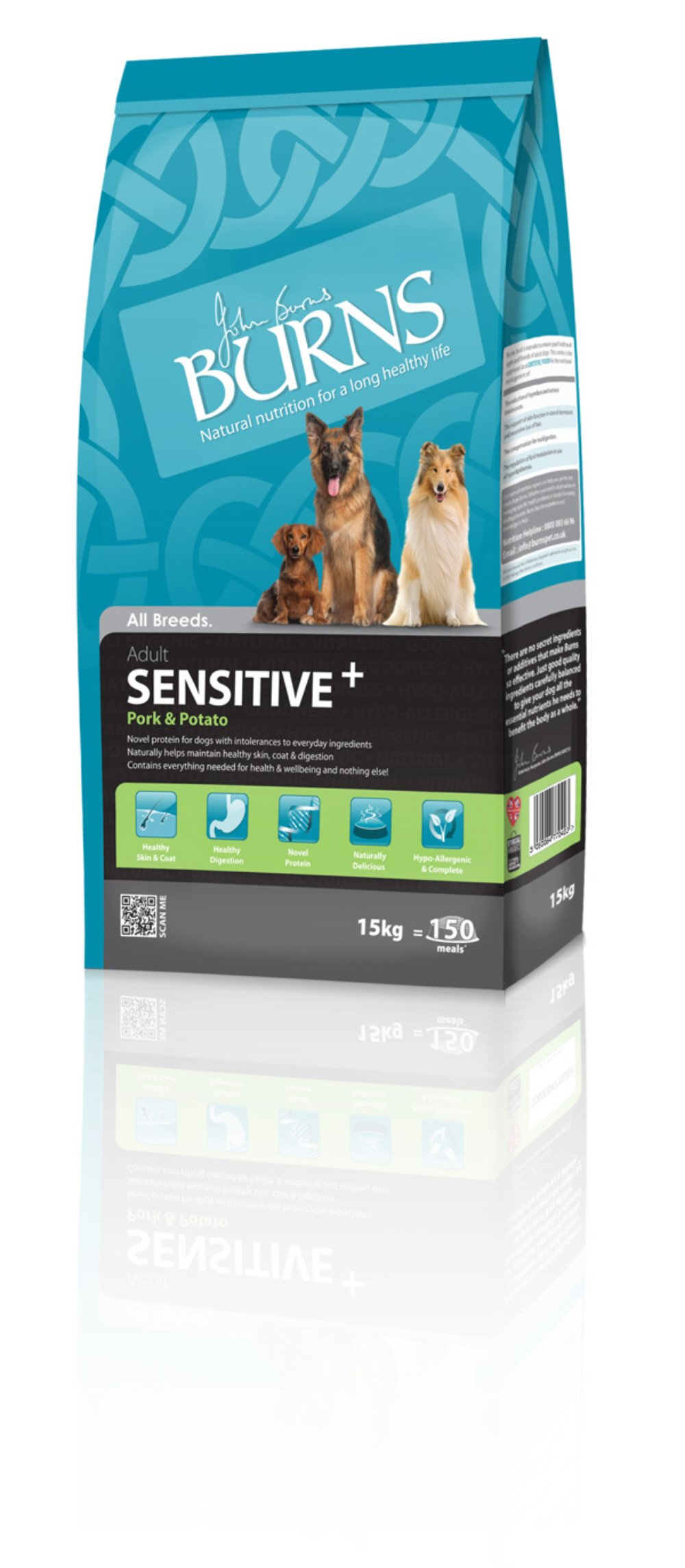 Burns Pet Sensitive Complete Dry Adult and Senior Dog Food Pork and Potato, 15 kg