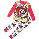 jsadfojas Cartoon Super Mario - Set di Indumenti da Notte, per Bambine, Ragazzi e Ragazze, 1-7Y Multicolore 5-6 Anni