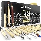 Outils de sculpture pour la poterie et la pâte polymère Arteza, set de 42 pièces, outils à pointe d'acier avec poignées en bo