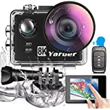 Yarber Caméra Sport, 8K 20MP Wi-Fi Étanche Caméra de Sport 40M écran tactile EIS commande vocale appareil photo…