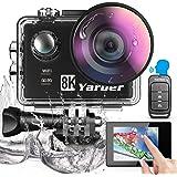 Yarber Action Cam 8K 20MP Wi-Fi Impermeabile 40M Touch Screen EIS Comando Vocale con Telecomando Fotocamera Subacquea Digital