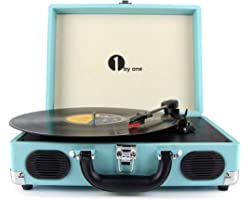 1 BY ONE Bluetooth Record Player Belt-Drive 3-Speed Portable Vinyl Turntable with Built in Speakers, Supports RCA Output, Hea