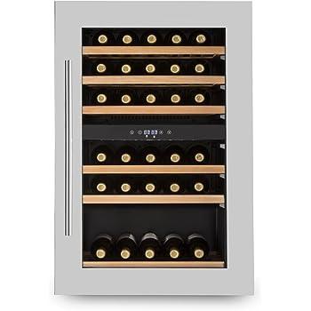 Klarstein Vinsider 35D frigorifero per vini e bevande 128 litri 41 bottiglie 6 ripiani in legno frigorifero da incasso porta in acciaio inox illuminazione interna LED nero-argento