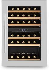 Klarstein Vinsider 35D • Weinkühlschrank • Getränkekühlschrank • 128 Liter • 41 Flaschen • 6 Holzeinschübe • 2 Zonen • Einbau • schwarz-silber