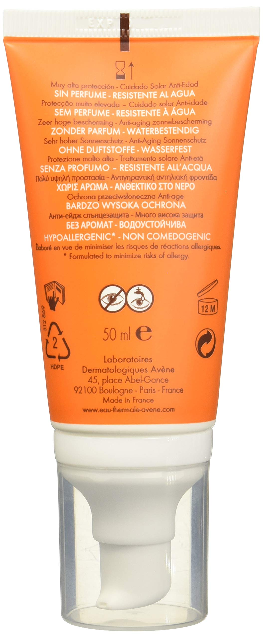 Avene Solar AntiEdad Spf 50+ Antioxidante Sin Perfume 50 Ml