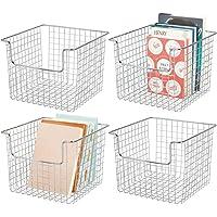 mDesign panier de rangement pour l'armoire ou l'étagère (lot de 4) – casier en métal pour la cuisine, la salle de bain…