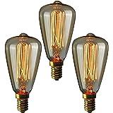 Gorssen Edison Ampoule,Edison Ampoule Rétro Décorative Ampoule Filament E14 ST48 Blanc Chaud Antique Lampe Idéal pour les écl