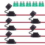 Rantecks 5 delar 12 V inuti säkringshållare 12AWG kabelnät bilsäkringshållare med 30A standard bladsäkring för bil lastbil mo