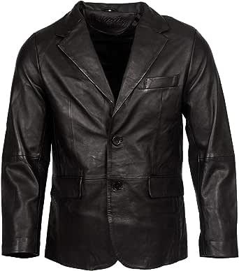 Men's Classic Tailored 2 Button Black Blazer Soft 100% Lamb Leather Jacket