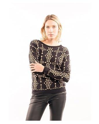 Lady Knitted Welsh pattern Fairisle Folk Cross Gold Print Jumper ...