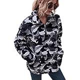 LIVACASA Felpe Donna Pullover Morbido Pile Tops Termico a Manica Lunga Maglione Donna Caldo con Tasche Ragazza Invernale