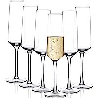 Amisglass Flûtes à Champagne, Verre à Pied Champagne Cristal de 6 Pcs sans Plomb, Coupes à Champagne de 280 ML…
