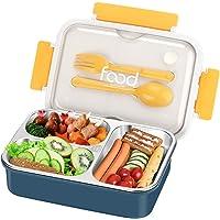 Aitsite Boîte à Lunch 1400ml, Boîte à Bento Inoxydable, Boîte à Repas Hermétique avec 3 Compartiments et Couverts…