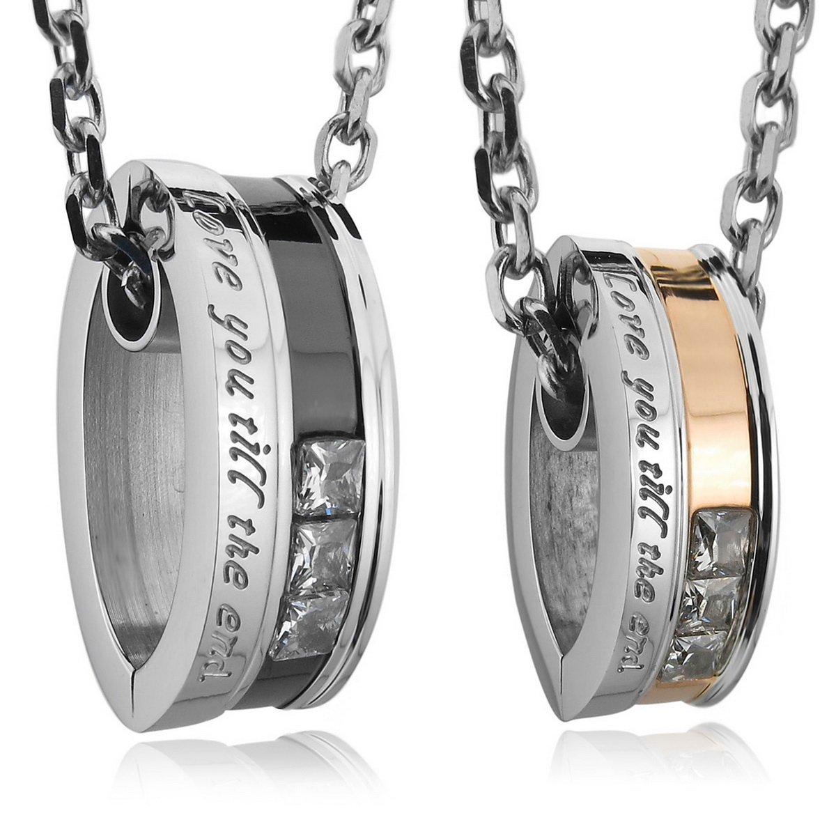 MunkiMix 2 PCS Edelstahl Anhänger Halskette CZ Zirkon Zirkonia Silber Golden Zwei Ton Schwarz Valentine Paar Paare Herren,Damen mit 50cm 58cm Kette