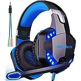 Cuffie da Gaming con Microfono per PS4 Xbox One Cuffie da Gioco con Cancellazione del Rumore, Stereo Bass Gaming Headset LED