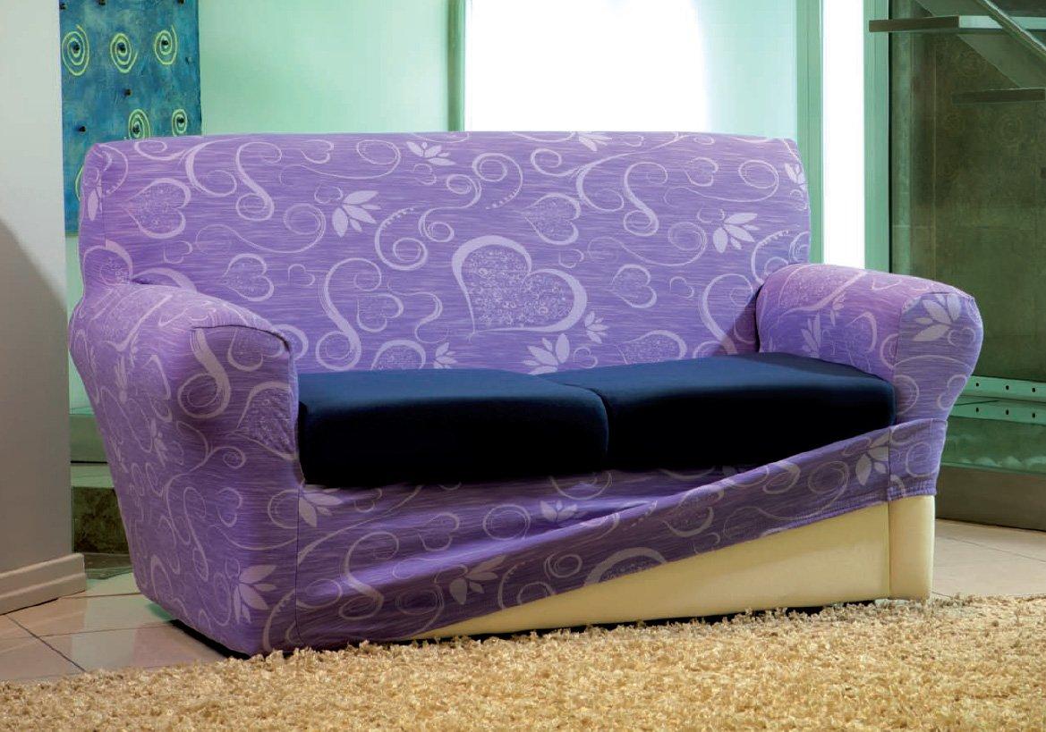 Copridivano 2 posti + coppia copri cuscini motivo CUORI nove colori.