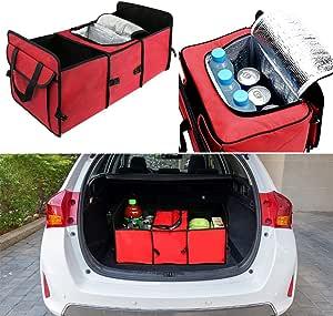 Faltbare Kofferraumbox Ordnung Für Auto Kofferraum Mit Kühl Und Iso Fach Für Shopping Reisen Camping Rot Von Pingxia Auto