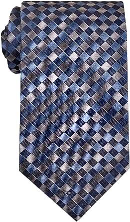 Remo Sartori - Cravatta in Pura Seta a Quadri Blu Grigio Made in Italy, Uomo