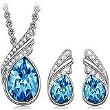 Kami Idea Set di Gioielli, Piuma Blu, Collana e Orecchini, Placcato in Platino, Cristalli Blu di Swarovski, Elegante Portagio