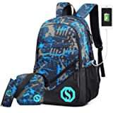 Ultra Light Water Resistant Boy School Backpack Set 3 Pieces School Bags Set for Teenage Boys Casual Daypack+Small…