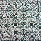 Stoff Meterware Tischdecke weiß petrol Ornament Cini