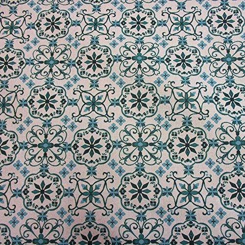 Stoff Meterware Tischdecke weiß petrol Ornament Cini Baumwolle beschichtet