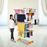 Happer Premium Double Supported 4 Layer Cloth Drying Stand with Thread Lock Mechanism and Breaking Wheels, King Jumbo (orange