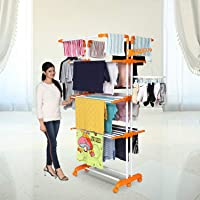Happer Premium Double Supported 4 Layer Cloth Drying Stand with Thread Lock Mechanism and Breaking Wheels, King Jumbo (Orange)