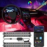 Govee Car LED Strip Light, Interior Car Lights Upgraded Two-Line Design Waterproof 4pcs 48 LED APP Controlled Lighting…