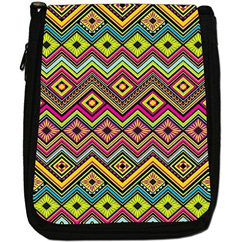 Tradizionale con motivo tribale azteco messicano per borsa a tracolla in tela, colore: nero, taglia: M Green Yellow Diamonds Maya