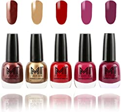 Mi Fashion Bold and Beautiful Combo, Shimmer Coffee, Delightfully Golden, Daring Red, Pucker Up Plum and Wonder Wine, 60ml (5 Pieces)