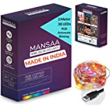 MANSAA® USB Multicolour Copper String Lights for Decoration 3M 30 LED USB Powered, Made in India, RGB Automatic Blinking