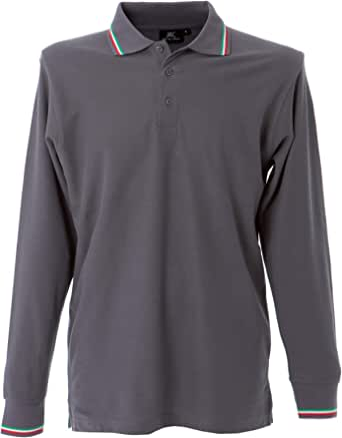 CHEMAGLIETTE! Polo da Lavoro Uomo T-Shirt Manica Lunga con Colletto Cotone Piquet JRC Savona